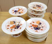 A Coalport Imari pattern part dessert service (17 pieces)CONDITION: One low comport glue re-attached