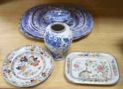 Three blue and white meat platters, largest 49cm wide, two ironstone plates and a tureen and a Delft