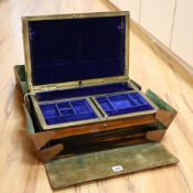 A Victorian calamander and brass-mounted inlaid jewellery box, width 42cm height 18cmCONDITION: