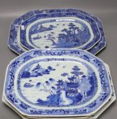 Five 18th century Chinese blue and white serving dishes, largest meat platter 44cm wide (faults)