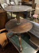 A George III mahogany two tier dumb waiter (cut down), width 55cm, height 79cm