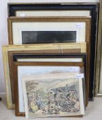 Seven monochrome reproduction prints of etchings after Menpes and two satirical prints,