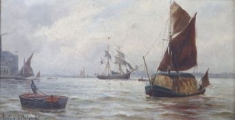 Gustav de Breanski (1856-1898), oil on board, Pool of London, signed, 15 x 29cm