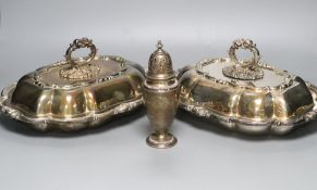 A pair of Victorian plated tureens and a plater sugar sifter