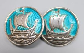 A pair of white metal (stamped silver) and enamel 'longboat' circular cufflinks, 27mm, gross 25.7