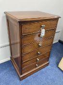 A modern mahogany six drawer sheet music cabinet, width 54cm depth 42cm height 80cm