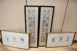 A pair of framed Chinese rice paper portrait groups and a pair of Chinese needlework sleeve bands,
