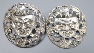 A pair of continental pierced white metal foliate and mask concave circular earrings, 38mm, gross