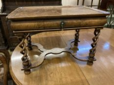A small William and Mary style walnut side table, width 62cm, depth 42cm, height 43cm
