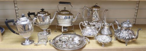 A three-piece plated teaset, sundry plated items and a leather box with plated mounts