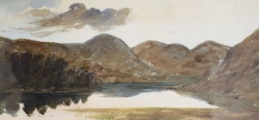 J.N. Singleton, watercolour with gum arabic, Lake scene, signed, 16 x 35cm