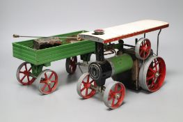 A Mamod steam tractor and wagon
