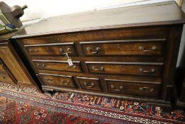 A mid 18th century mule chest, width 150cm, depth 53cm, height 88cm