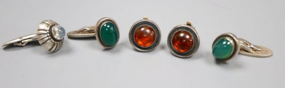A pair of Georg Jensen sterling and cabochon chrysophase cufflinks, designed by Harald Nielson,
