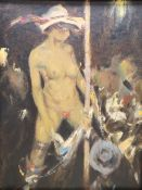 Ken Moroney (1949-2018), oil on card, 'The Pole Dancer', signed, with Studio stamp, 24 x 18cm