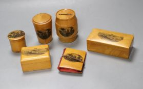 Six pieces of Mauchline ware including a money box, height 8cm