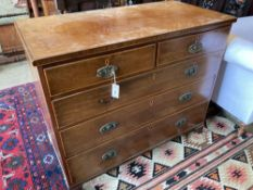 A Regency banded mahogany chest fitted two short drawers and three long drawers, width 109cm,
