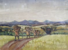 T.G. Kimera, watercolour, African landscape with grain carriers, signed, 26 x 35cm