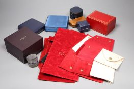 A small group of assorted jewellery boxes including Boucheron & Must de Cartier and seven assorted