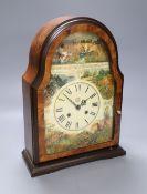 A burr walnut painted mantel clock, height 36cm