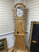 A Swedish pine longcase clock, G H Welcher, Eskilstuna, with painted dial, height 216cm