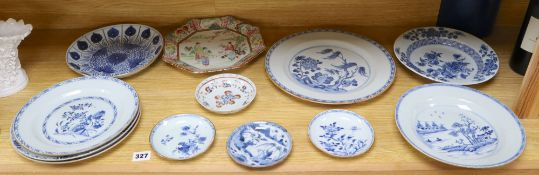 A collection of mostly 18th century Chinese export plates and dishes, a Chinese famille rose dish