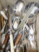 A collection of silver plated flatware, servers etc.