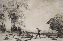Albert George Petterbridge, etching, The Sawyers, signed in pencil, 20 x 30cm