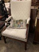 A George III style Gainsborough chair, width 64cm, depth 58cm, height 109cm