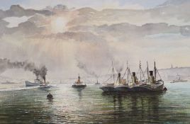 Graham Penn, watercolour, Tug boats in harbour, signed and dated 1984, 35 x 52cm, unframed