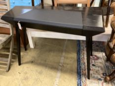 A Christopher Coane design onyx black oak desk, with copper lined push opening drawer, width