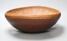 A painted Norwegian bowl, diameter 39cm