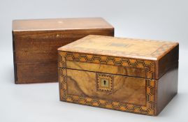 A Victorian parquetry work box and one other with Royal Engineers crest