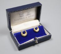 A pair of modern 18ct gold and ruby set horseshoe shaped cufflinks by Mappin & Webb, London, 1989,