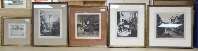 After Mortimer Luddington Menpes (1855-1938), a group of five framed monochrome etchings with