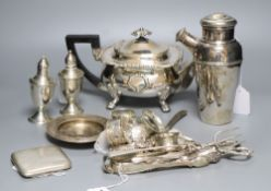 A collection of silver and plated items, the silver items comprising a pair of Sterling weighted
