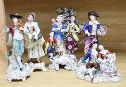 A Hochst style porcelain shepherd and shepherdess group and four other modern Continental figures,