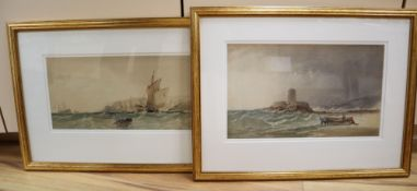 19th century English School, two watercolours, Fishermen along the coast, 17.5 x 42cm and 21 x 36cm