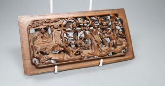 An 18th/19th century Chinese carved boxwood figure panel 20 x 10cm