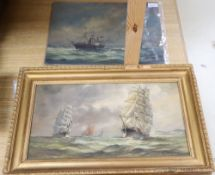 Max Parsons A.R.C.A. (1915-1998), sailing ships at sea, signed, oil on board, in gilt frame and