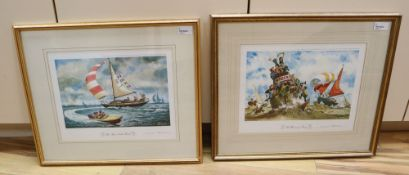 Norman Thelwell, a pair of limited edition signed yachting prints, 'The Warning Buoy', no. 71/850
