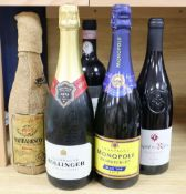 Five bottles of mixed wines and champagnes