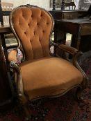 A Victorian walnut spoonback open armchair, width 66cm, depth 80cm, height 90cm