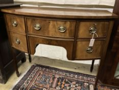 A George III style mahogany bow fronted sideboard, width 106cm, depth 53cm, height 84cm