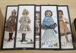 Five framed sets of three Jersey Pottery tile plaques, depicting ladies dressed for winter, 46 x