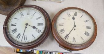 A Victorian pine dial wall clock with fusee movement and a similar clock with German movement,