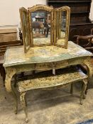An early 20th century Venetian style rectangular floral painted serpentine table with similar triple