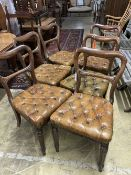 A set of six early Victorian mahogany dining chairs, with buttoned leather seats
