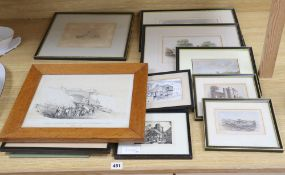 A group of assorted 19th century and later watercolours and prints, depicting scenes in and around
