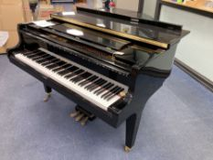 A Kawai baby grand piano, in a bright polyester finish case, on square tapered legs, together with